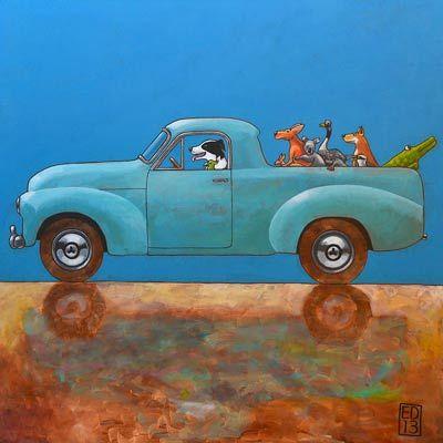 Braaaf: Origineel verkocht.   Ansichtkaart en giclée print met afdruk van het schilderij Braaaf door Ed van der Hoek kunstenaar te Oostvoorne. Oker gele voorstelling van dalmatier hond.