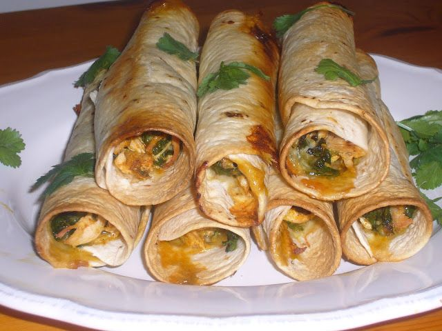 spinach and chicken flautas in toaster oven... sneak in some veggies