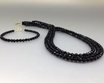 Set of three strings faceted Onyx necklace and bracelet 14K gold - gift idea - Special offer - gift idea by gemorydesign. Explore more products on http://gemorydesign.etsy.com