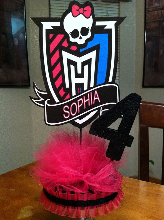"Personalized Monster High Centerpiece Doll on 1/2"" Thick Foam with Base and Age Number"
