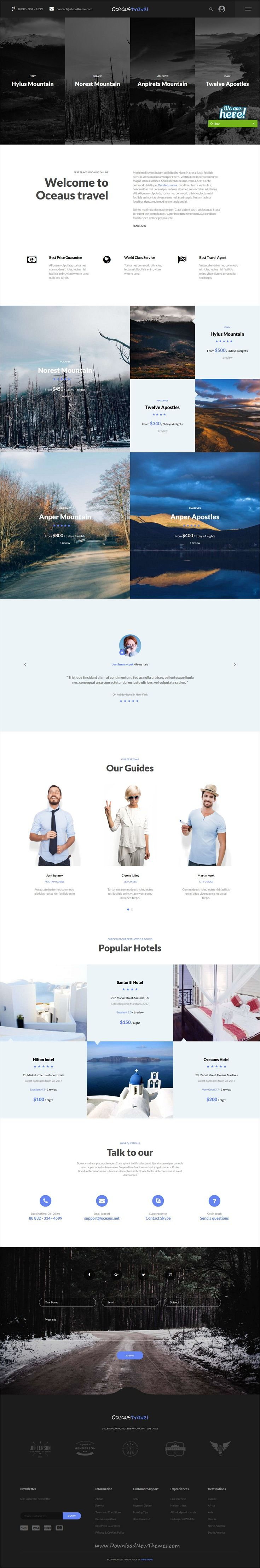 Oceaus is clean and modern design responsive WordPress theme for #Accommodation, #Travel and Tour #booking agencies website with 10 unique homepage layouts download now