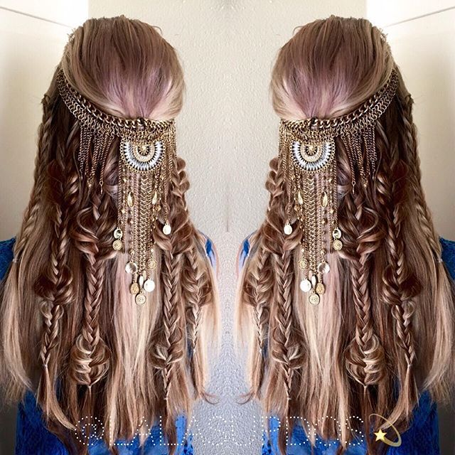 Ultimate boho braid by Lalas Updos. Game of Thrones Vikings fb.com/hotbeautymagazine #hotonbeauty long hair braids hair jewelry