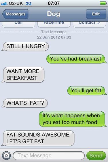 Hungry Dog Texts    See more funny pics at killthehydra.com!
