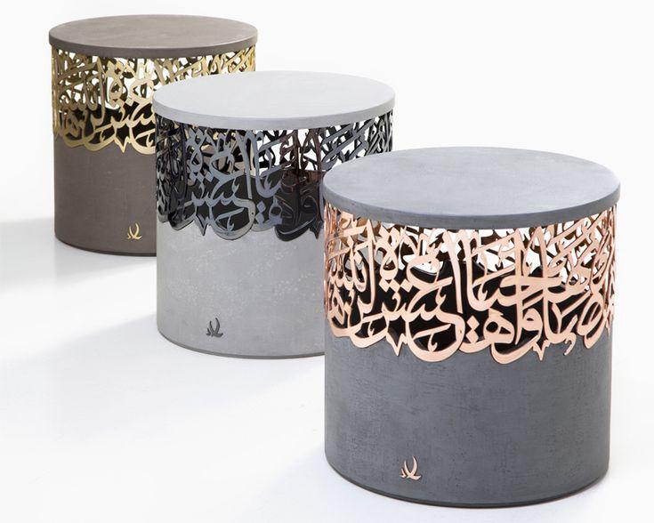 iyad naja forms metal and concrete calligraphy stools for dubai design week