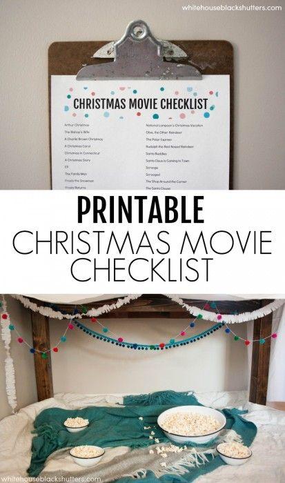 Cozy Movie Night + Christmas Movie List Printable - white house black shutters