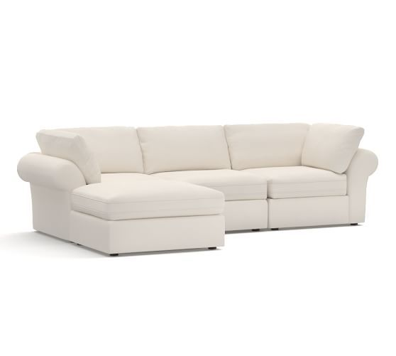 PB Air Upholstered 4-Piece Sofa with Chaise Sectional   Pottery Barn
