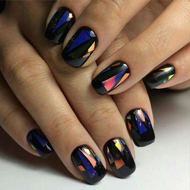 glass shard effect multicolor nail art