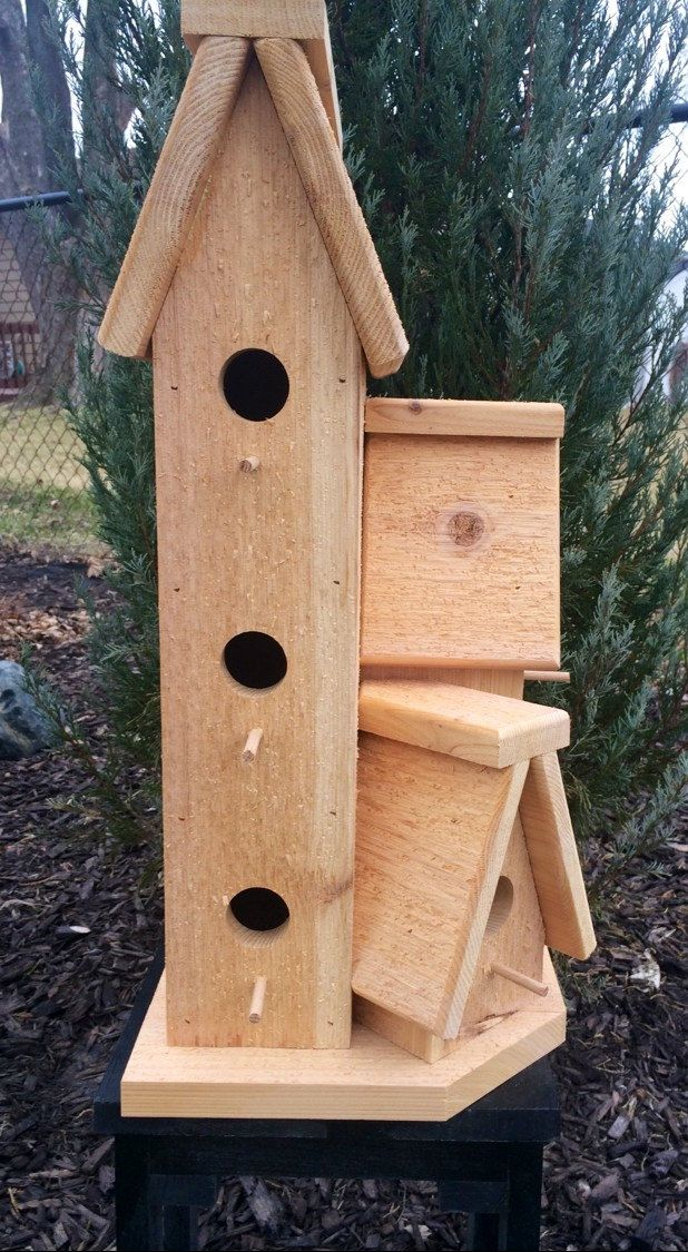 Large Cedar Wood Outdoor Birdhouse Condo Bird