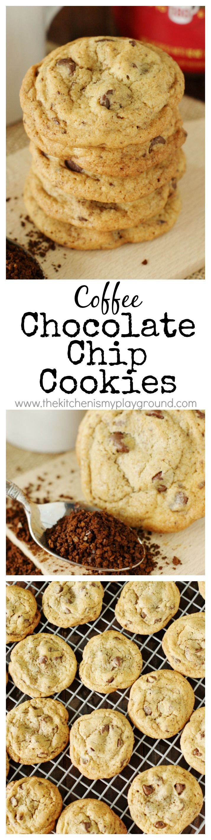 Coffee Chocolate Chip Cookies ~ Give traditional chocolate chip cookies a tasty coffee twist ... with a little hit of instant coffee granules!   #recipe #Folgers #ad www.thekitchenismyplayground.com