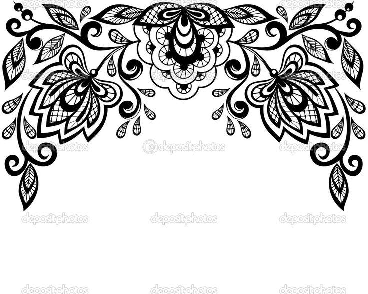 Черно-белые кружевные цветы и листья, изолированные на белом фоне - Векторная картинка: 22370355
