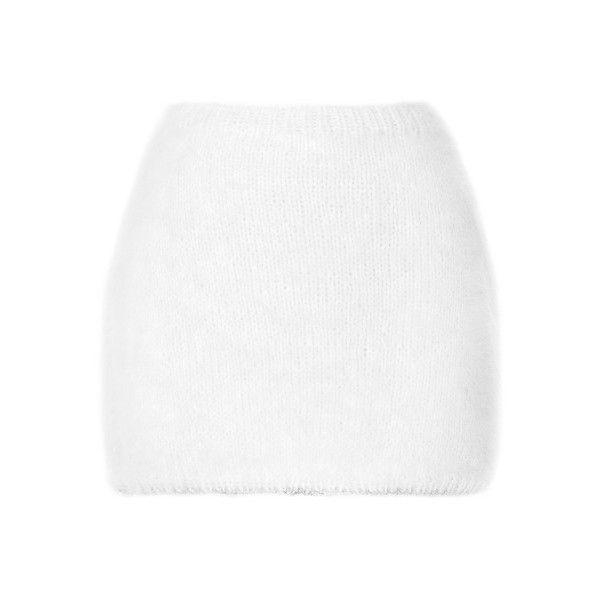 Rodarte White Angora Mini Skirt ($920) ❤ liked on Polyvore featuring skirts, mini skirts, bottoms, white, faldas, short skirts, white skirt, rodarte, pull on skirts and white mini skirt