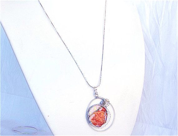 Artisan glass necklaceorange glass necklacefused by Dartisanglass
