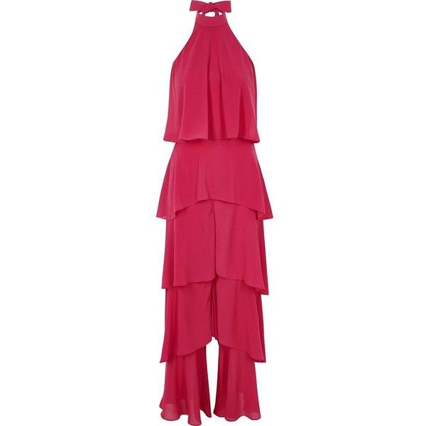 River Island Bright pink wide leg halter frill jumpsuit ($50) ❤ liked on Polyvore featuring jumpsuits, pink, playsuits & jumpsuits, sale, women, tall romper, wide leg romper jumpsuit, sleeveless romper, pink romper and pink halter top