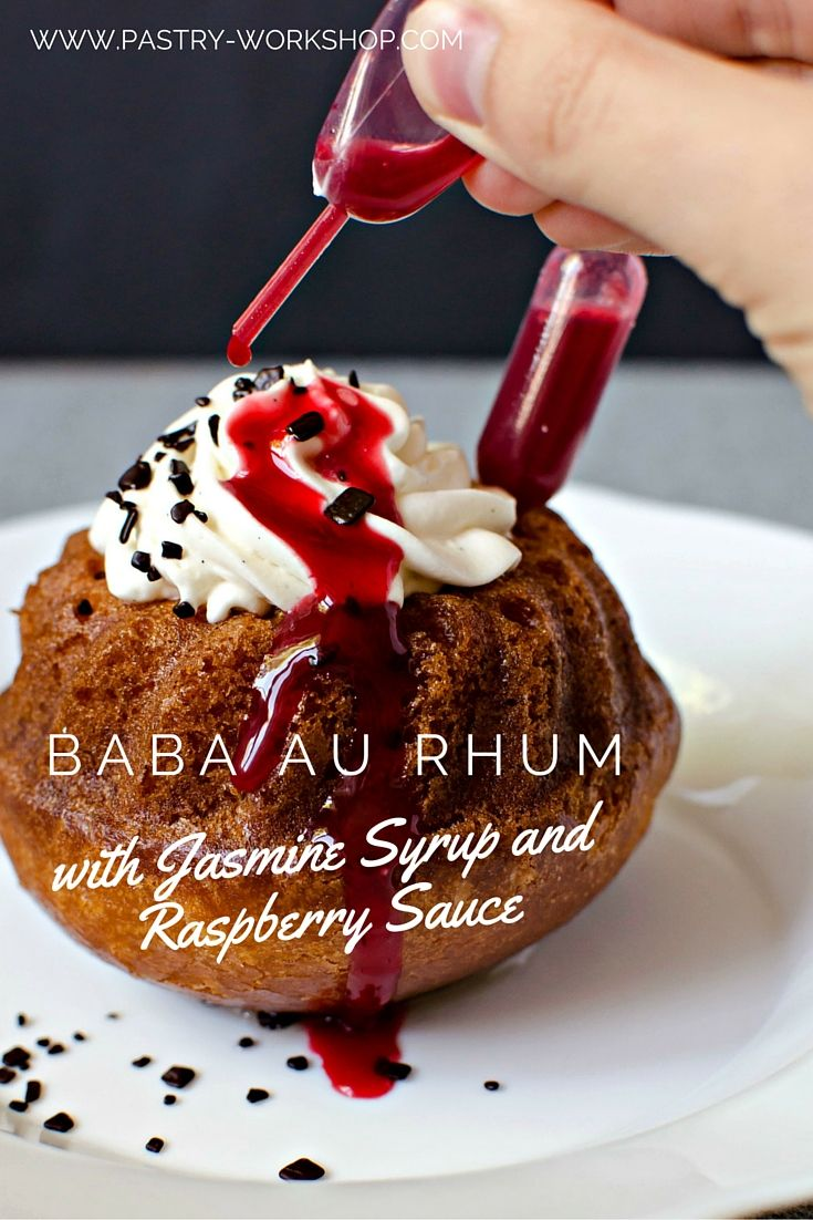 Rum Baba with Jasmine Syrup and Raspberry Sauce www.pastry-workshop.com