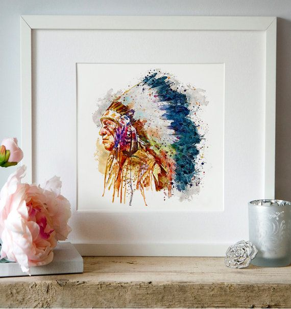 Native American Chief Watercolor portrait Wall art by Artsyndrome