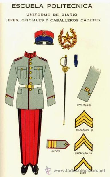 Uniforme de diario de jefes, oficiales y caballeros cadetes de la escuela politecnica del Ejército de Guatemala en 1939 / 1939 Guatemalan Army polytechnic school officers and cadets' service dress uniform.