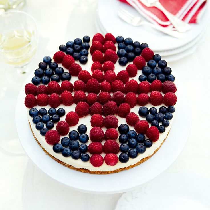 Use a ruler when you decorate this stunning cheesecake � it will avoid the hassle of rearranging the berries!