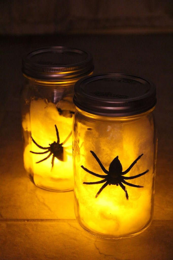 mason jars, cotton balls or fake spider web, LED votive, fake spider (great for outside, kids would love it inside too)