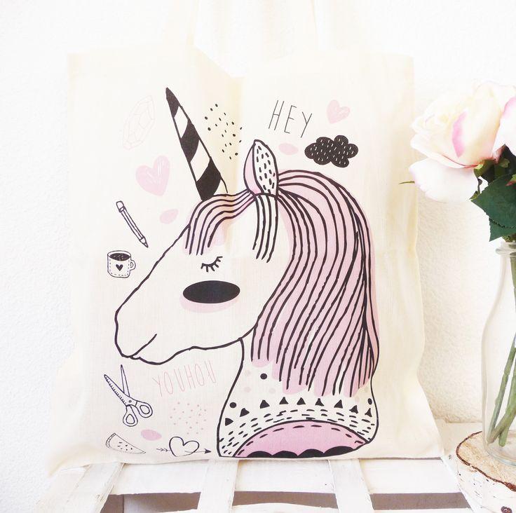 """Tote bag naturel, 100 % Coton, illustration """"La licorne"""" réalisée à la main. : Autres sacs par kriboute"""