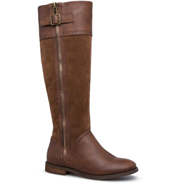 ShoeDazzle Boots - Knee Length Emily Equestrian Boot Womens Brown ❤ liked on Polyvore featuring shoes, boots, boots - knee length, brown, brown knee high boots, brown riding boots, equestrian boots, brown boots and brown knee length boots