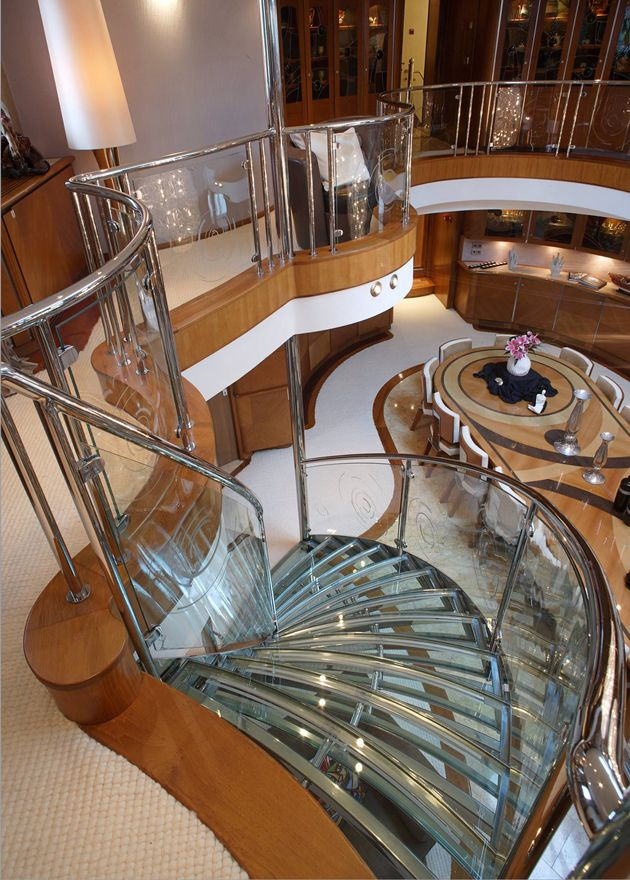 The staircase on superyacht Sherakhan                                                                                                                                                                                 More