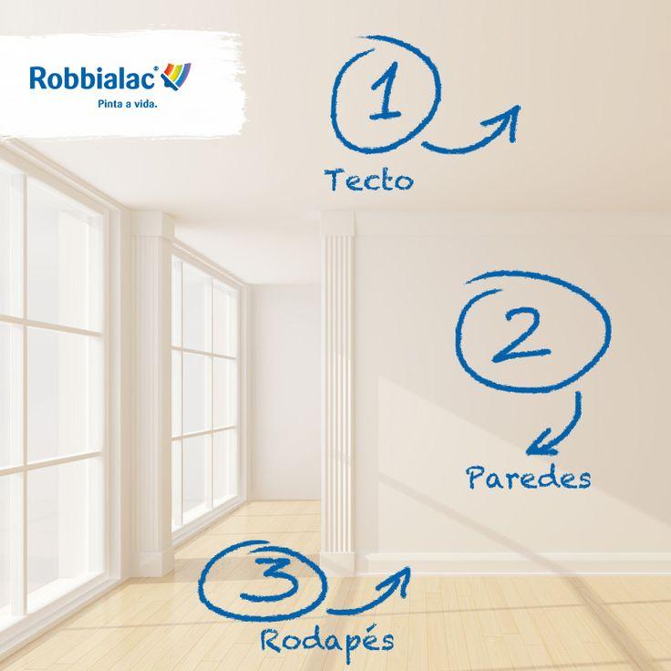 Dica: 1º o tecto, 2º as paredes e 3º os rodapés! Para o melhor resultado, consulte os nossos especialistas numa loja Robbialac. #Robbialac #Cor #Pintaavida #Dica #Sala #Branco