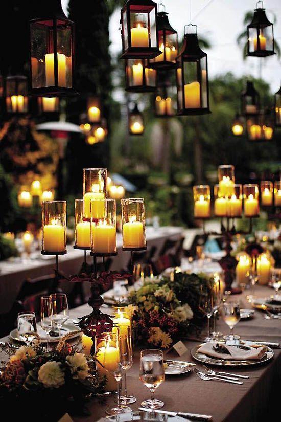 07 hochzeitskerzen motive tisch hochzeitsdekorationen braun deko blumen Hochzeit Deko Idee – Lichthochzeit mit Kerzen oder Lampen