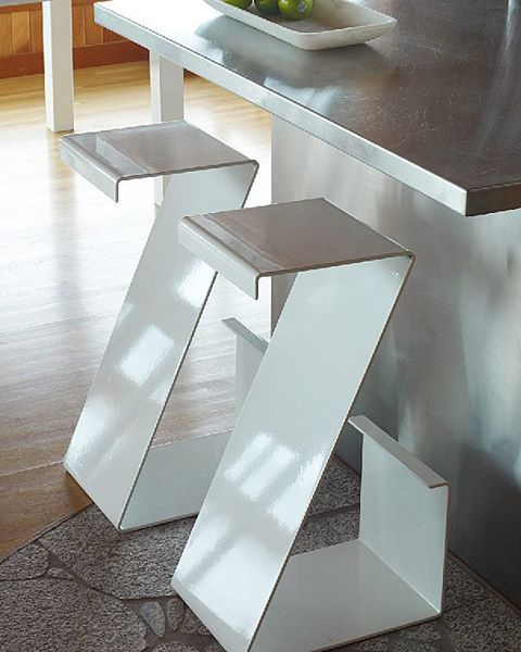 I created my Zig Zag stools because I was worried that my grandchildren would tip over the ones I had in my house. These stools won't tip, they are fun and functional! #steel #luxury #barstool #handmadefurniture #canadianartist #madeinvancouver #marthasturdy