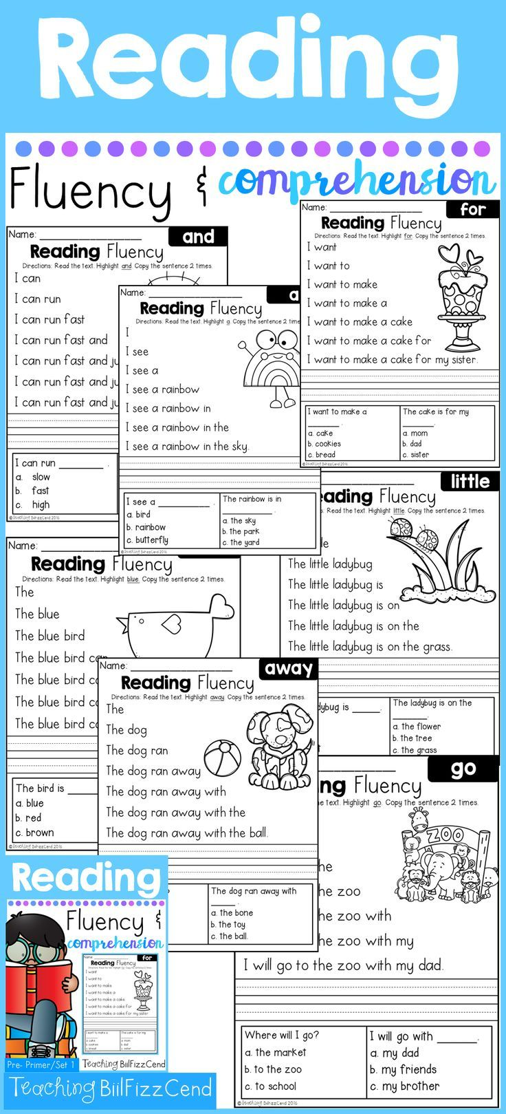 Very first reading comprehension!! 40 Fun and Engaging Fluency and Comprehension Pages. Builds Fluency and Confidence in reading, and comprehension for understanding!!