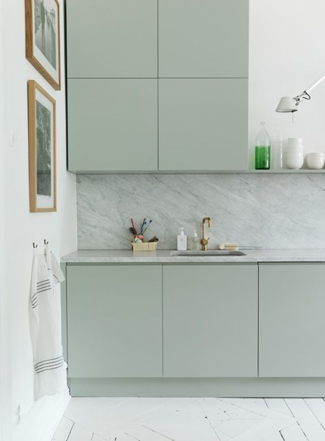 Pastel green kitchen with marble. Perfect mix. #interior #style