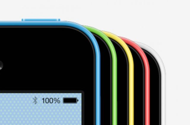 Fully-scalable vector shape iPhone 5C psd mockup template in colorful green, blue, yellow, pink, and white. With the help of smart...
