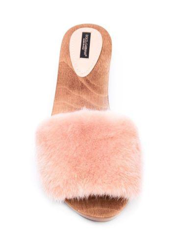 New DOLCE & GABBANA Mink Fur Pink Studded Wooden Clogs Flip Flops Shoes Sandals