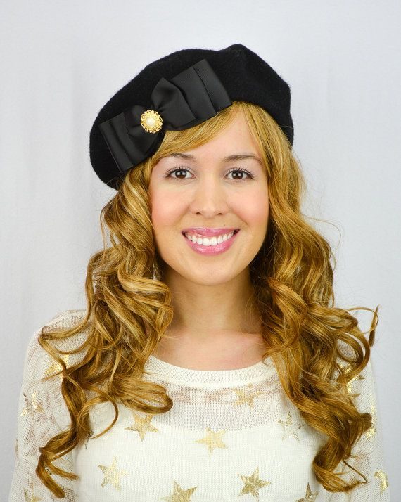 Black French Beret Hat Grosgrain Bow