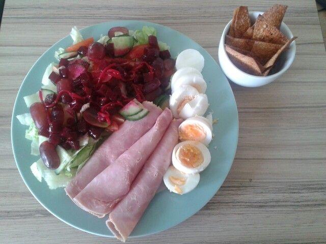 Ham n beetroot salad eggs and sw dorito crisps bbq flavour