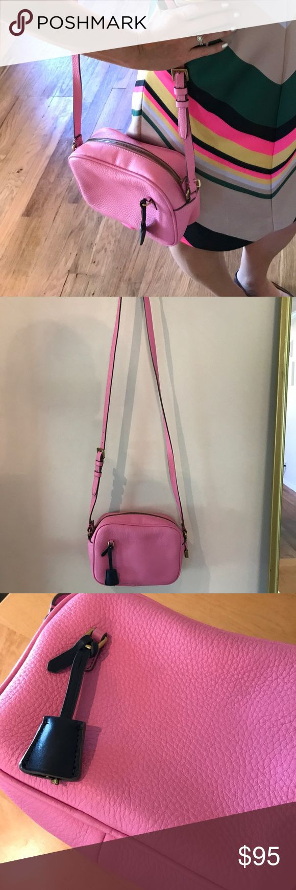 J Crew Pink Signet Bag Carried one time. This bag is super cute just a little small for me. Navy key cover for lock. Adjustable cross body strap. Excellent used condition. NO TRADES - REASONABLE OFFERS CONSIDERED THROUGH OFFERS BUTTON J. Crew Bags Crossbody Bags