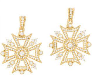 Judith Ripka Sterling & 14K Clad Diamonique Maltese Cross Enhancer