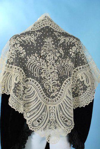 Vintage Lace Shawl offered on Ebay.  Point de gaze lace