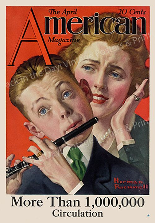 """Vintage Poster, Norman Rockwell Giclee Reproduction American Magazine """"The Boy Musician""""  c1919 by artrep1 on Etsy"""