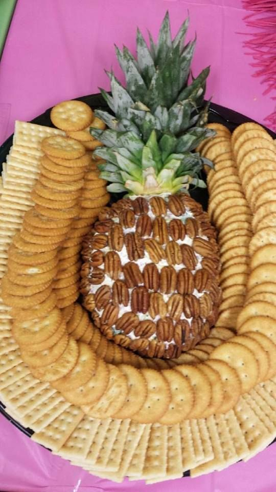 Cheeseball Shaped and decorated like a pineapple