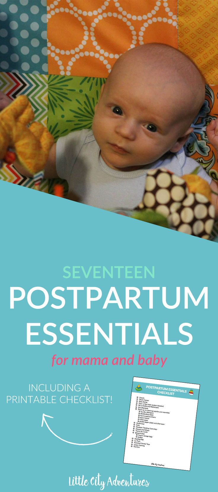 Seventeen must have items for new mamas! Those first few weeks with baby can be rough, prepare by gathering up those 17 postpartum essentials!