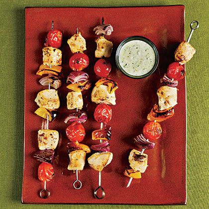 Chicken Kebabs with Creamy Pesto Recipe by cookinglight via myrecipes #Chicken_Kebabs #cookinglight #myrecipes