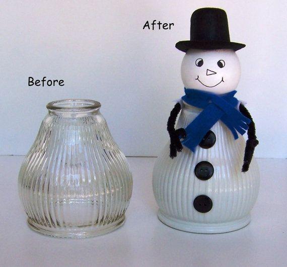 White Snowman Light Shade Glass Globe Christmas by handcreated4u