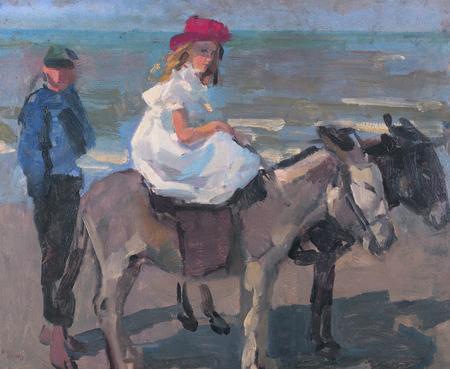 Isaac Israëls  'Ezeltje rijden langs het strand van Scheveningen' uit circa 1900. Bijzonder is dat rechts een afdruk van de duim en palm van de kunstenaar in de verf zichtbaar is..