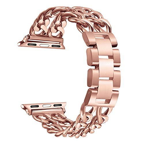 Secbolt Stainless Steel Bands for Apple Watch 38mm iWatch Strap Chain Replacement Wristband for Apple Watch Nike Series 3 Series 2 Series 1 Sport Edition Copper Color