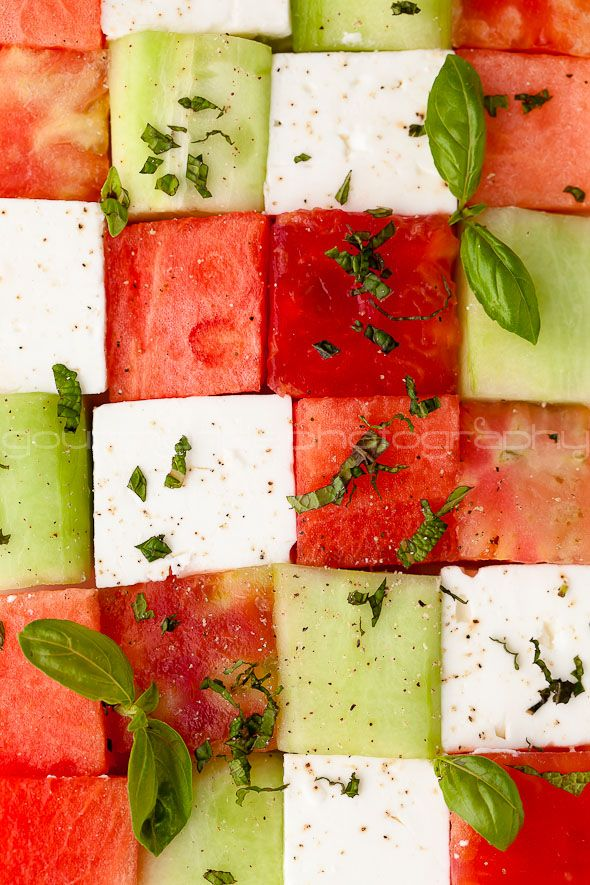 watermelon, heirloom tomato and feta salad.  almost too pretty to eat!  #whbmfoodies #whbm #feelbeautiful great healthy snack that will impress