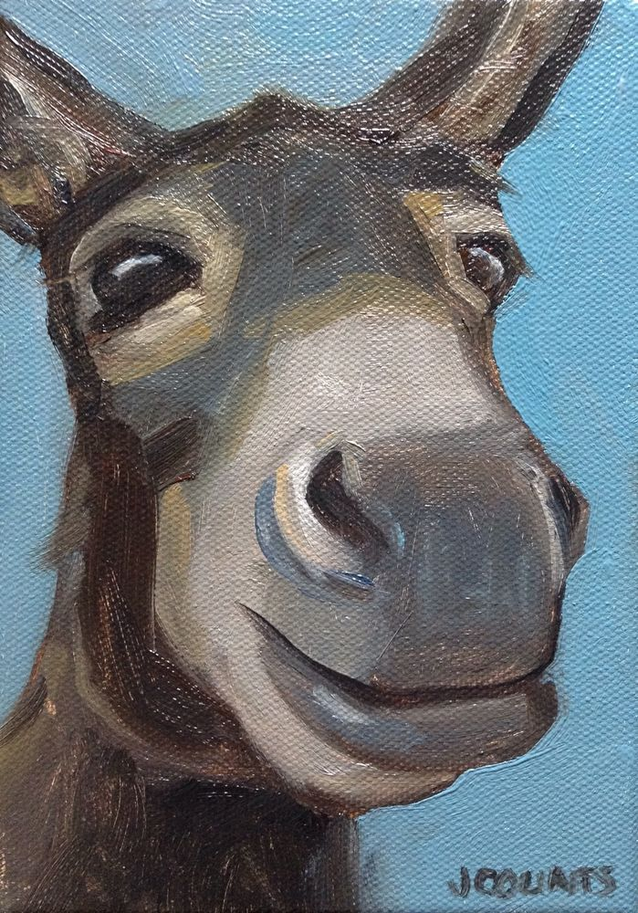 "DONKEY MULE ART FARM BARN HOME DECOR CUTE ANIMALS SMILING ANIMAL SMALL PAINTING ""Buck""  Oil on Canvas 5""x7"""