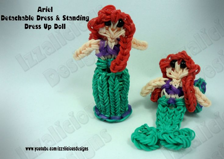 Rainbow Loom Princess Ariel Charm/Action Figure - Detachable Skirt & Standing Dress Up doll tutorial by Izzalicious Designs.