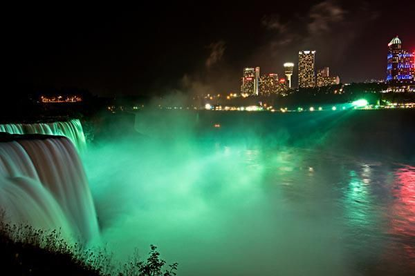 Niagara Falls Canada goes green for St. Patrick's Day.