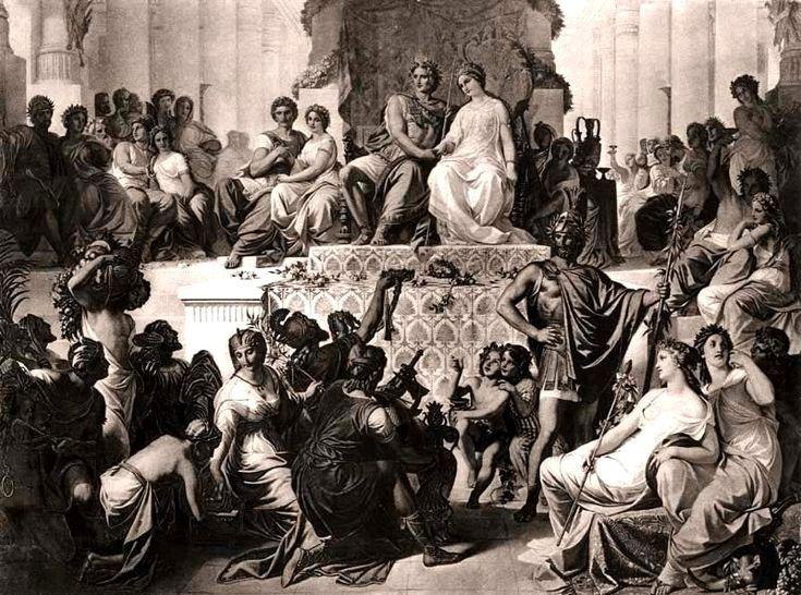 """Os Casamentos de """"Alexandre III da Macedônia com Statira"""" e de """"Heféstion com Driptis"""", em SUSA. (pintura do fim do Séc. XIX)"""