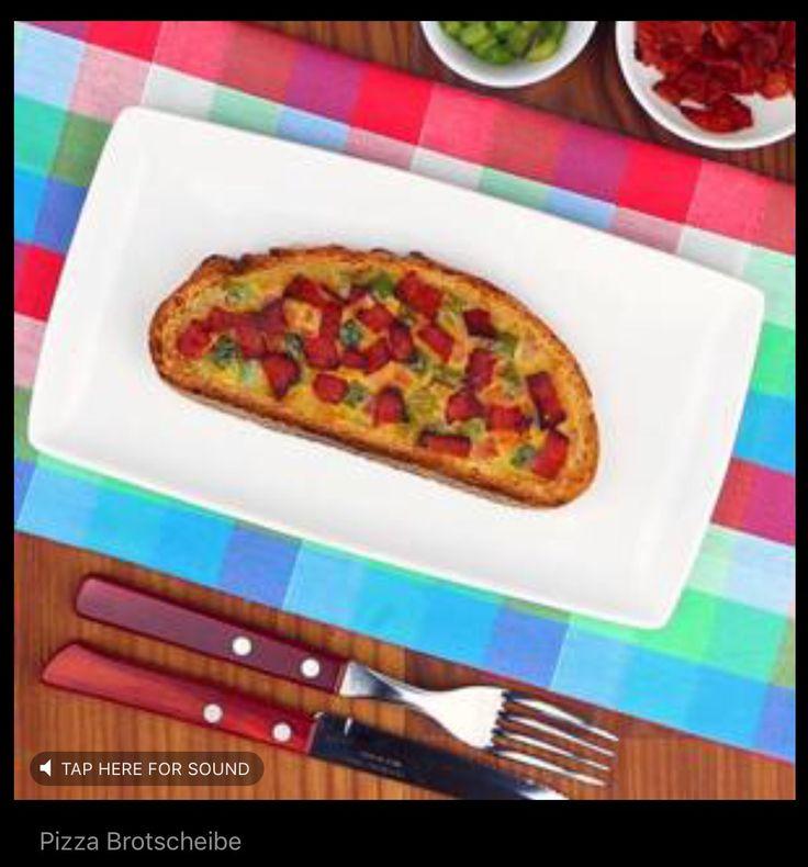 Pizza-Brotscheibe. Video en receptuur staan onder de pin van hotdogrol.